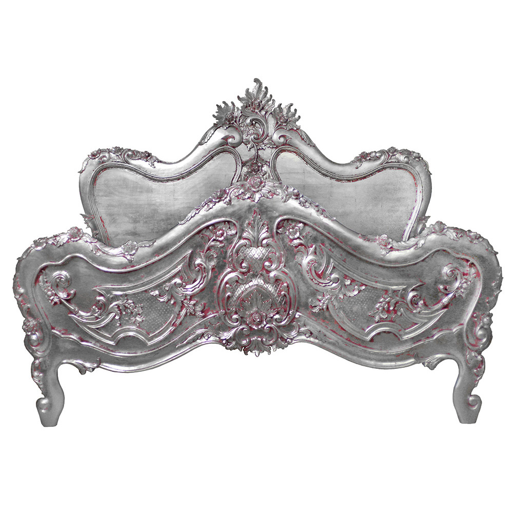 BAROQUE BED SILVER PINK