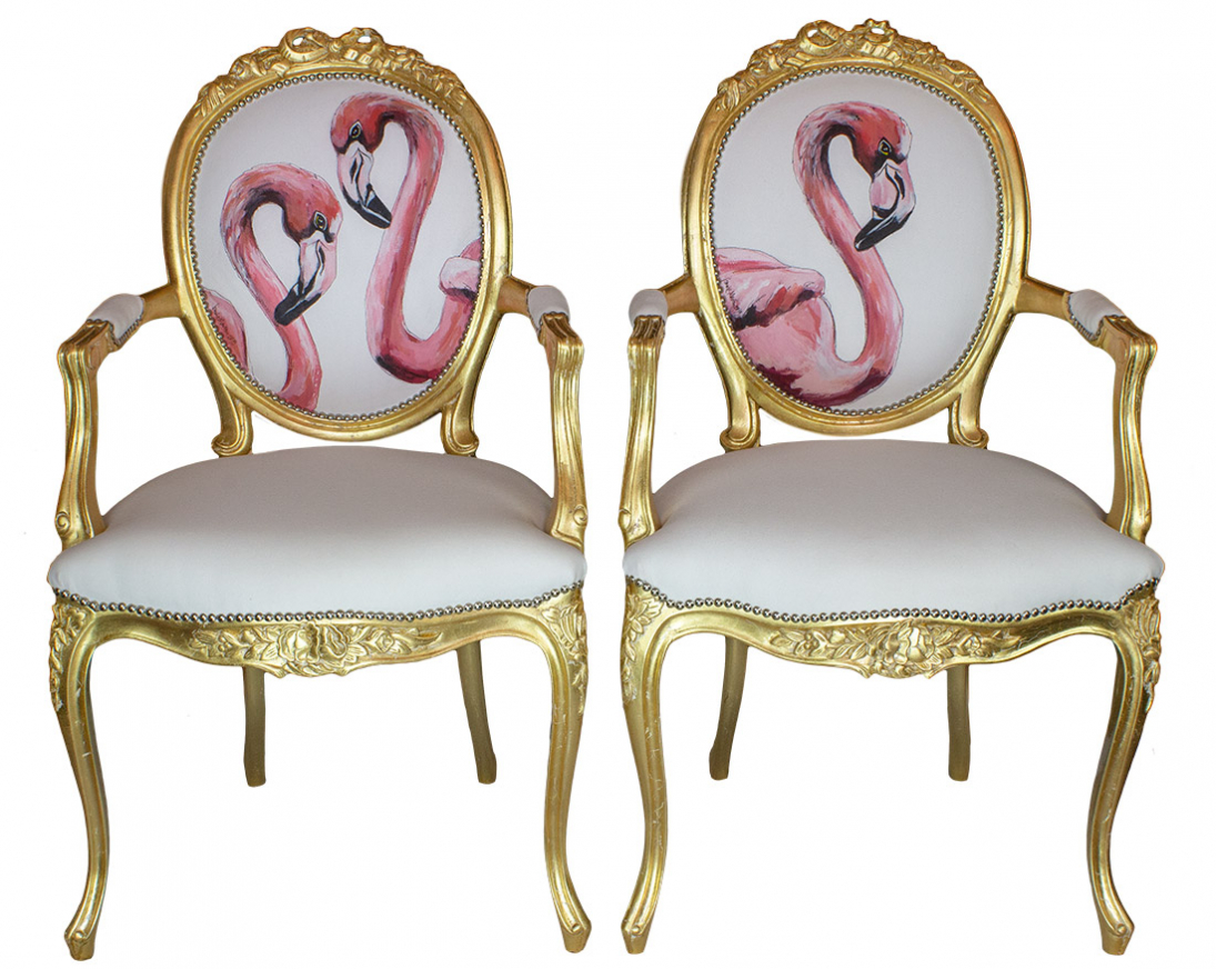 GOLD CARVER FLAMINGOS