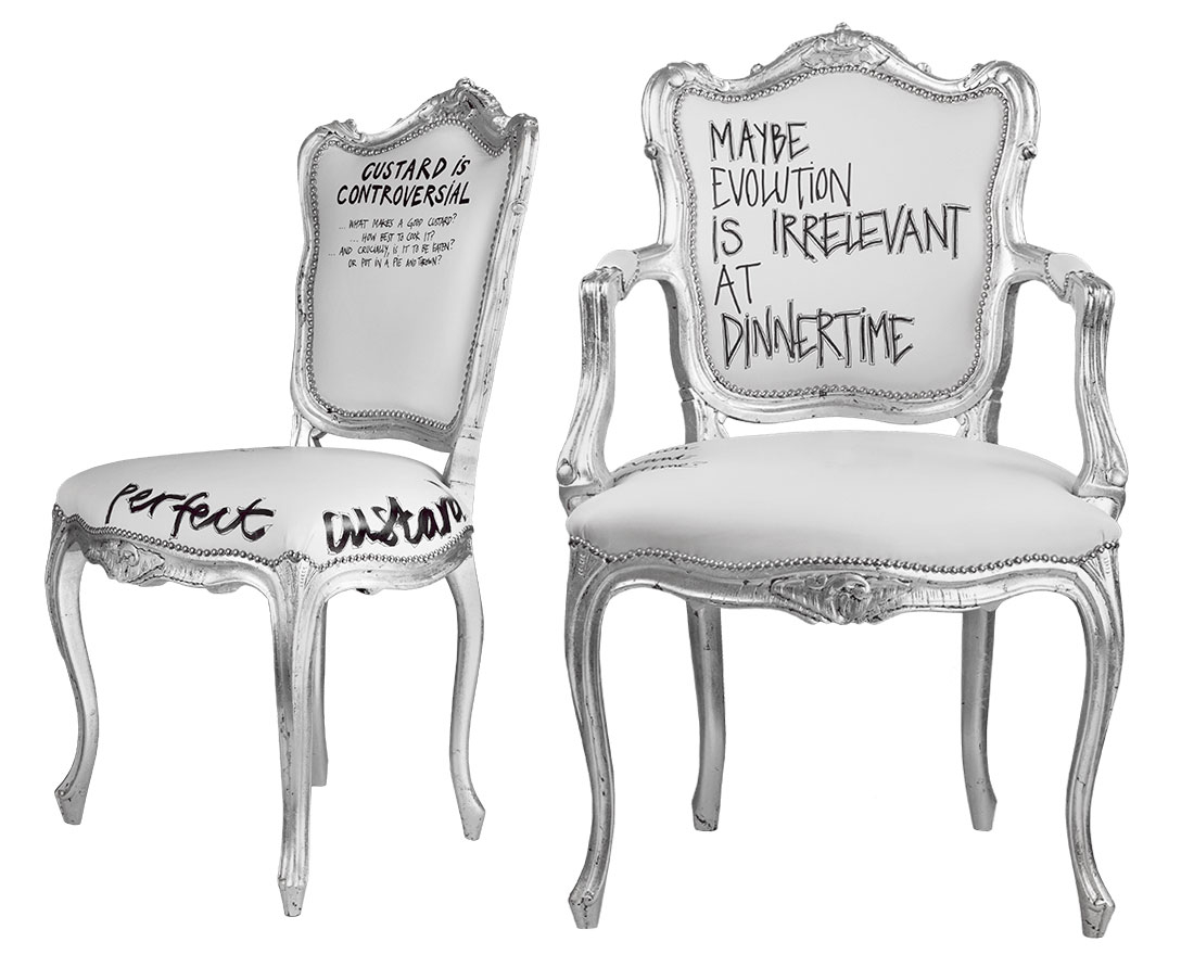 SILVER DINING CHAIRS IRRELEVANT & CUSTARD